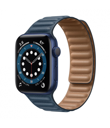Apple Watch Series 6 44mm GPS Blue Aluminum Case with Baltic Blue Leather Band