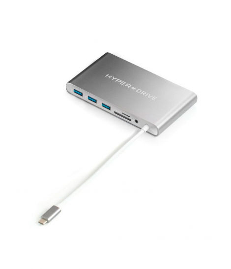 USB-хаб HyperDrive, Ultimate, USB-C - Ethernet, SDMicroSD, 4-USB, D-Sub, HDMI, Space Gray