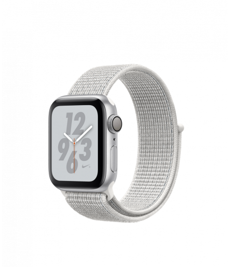 Apple Watch Series 4 40mm GPS Silver Aluminum Case with Summit White Nike Sport Loop MU7F2