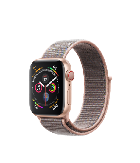 Apple Watch Series 4 40mm GPS + Cellular Gold Aluminum Case with Pink Sand Sport Loop