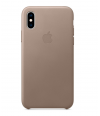 Чехол Apple Leather Case iPhone X - Taupe