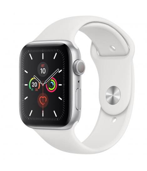Apple Watch Series 5 44 mm GPS Silver Aluminum Case with White Sport Band